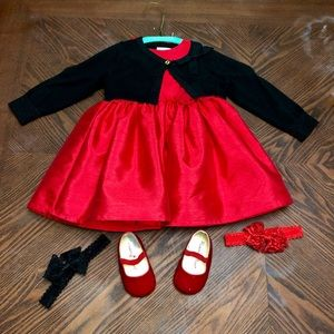 Red Formal Baby Dress 12m tights, shoes, cardigan